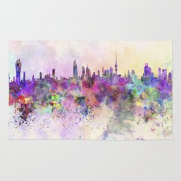 Kuwait City skyline in watercolor background Rug