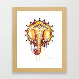 Elephant Mandala Framed Art Print