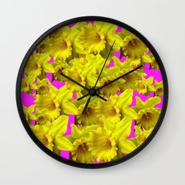 YELLOW SPRING DAFFODILS ON  VIOLET PURPLE ART Wall Clock