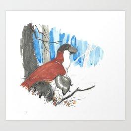 Troodont in Winter Art Print