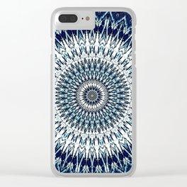 Indigo Navy White Mandala Design Clear iPhone Case