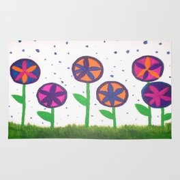 Raindrops and Flowers Rug