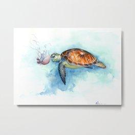 Turtle Noms Metal Print