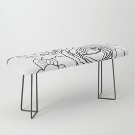 Feminine and Romantic Rose Pattern Line Work Illustration Bench