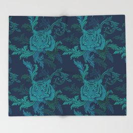 Tiger Greenery Throw Blanket