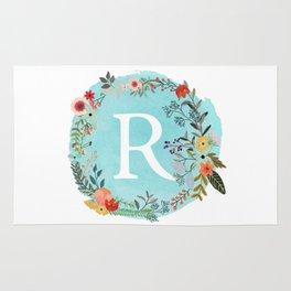 Personalized Monogram Initial Letter R Blue Watercolor Flower Wreath Artwork Rug