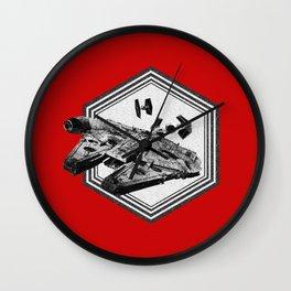 Millennium Falcon TIE Fighter Dotwork - Pointillism Art Wall Clock