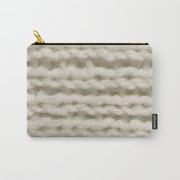 White Wool Knitting Texture Carry-All Pouch