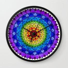 Rainbow Chakra Flower Mandala Colored Pencil Drawing by Imaginarium Creative Studios Wall Clock