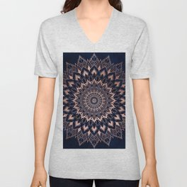 Boho rose gold floral mandala on navy blue watercolor Unisex V-Neck