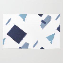 White and blue art print Rug