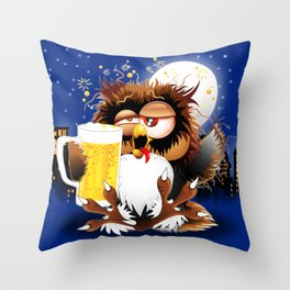 Drunk Owl with Beer Funny Character Throw Pillow