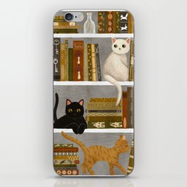 cat bookshelf iPhone Skin
