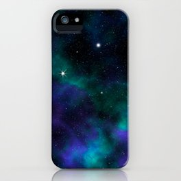 Blue Green Galaxy iPhone Case