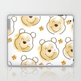Inspired Pooh Bear surrounded with bees Pattern on White background Laptop & iPad Skin