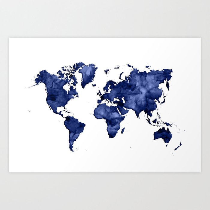 Dark Navy Blue Watercolor World Map Art Print By