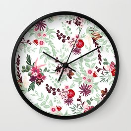 Abstract red pastel green pink country floral pattern Wall Clock