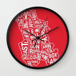 Typographical Map of Oatcakes Shops Wall Clock