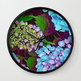Hydrangea Pink and Blue Wall Clock