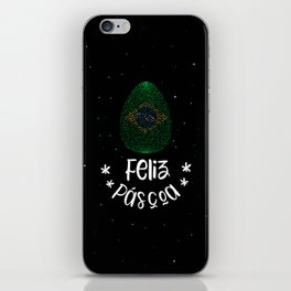Happy Easter and Easter egg with Brazilian flag iPhone Skin