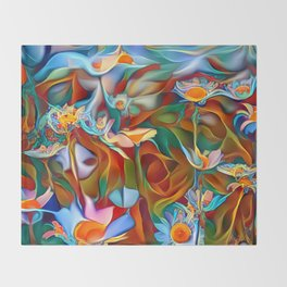 Psychedelic Daises Throw Blanket