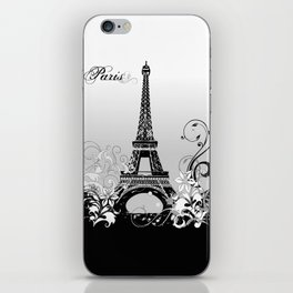 Eiffel Tower Paris (B/W) iPhone Skin
