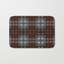 Dark black and blue plaid checkered Scandinavian design Bath Mat