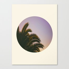 Sunset Purple Palm Tree Circle Photo Canvas Print