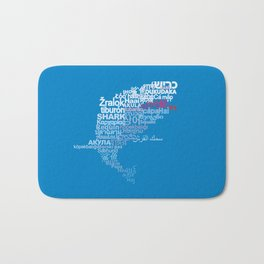 Shark in Different Languages Bath Mat