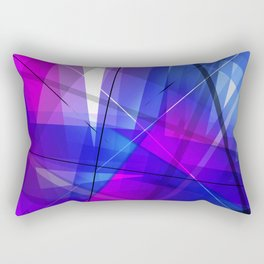Transparent Shapes Blue and Pink Geometric Abstract Art Rectangular Pillow