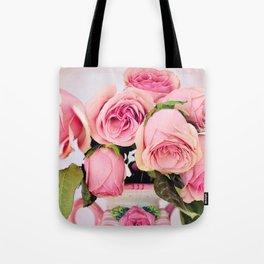 Pink Roses in a Vase Tote Bag
