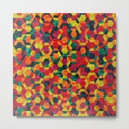 Colorful Half Hexagons Pattern #08 Metal Print