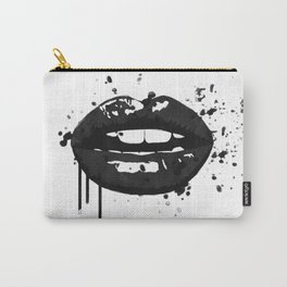 Black and white glamour fashion lips Carry-All Pouch