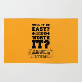 Lab No. 4 Will It Be Easy Gym Motivational Quote Rug