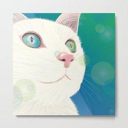 Odd-eyed White Cat Metal Print
