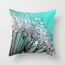 Diamond Blue Water Droplets Throw Pillow