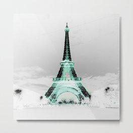 pariS Black & White + Mint Metal Print