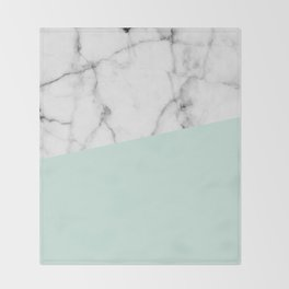 Real White marble Half pastel Mint Green Throw Blanket