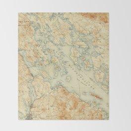 Vintage Map of Lake Winnipesaukee (1907) Throw Blanket
