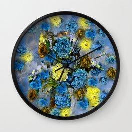 HYDRANGEA AND ROSES Wall Clock
