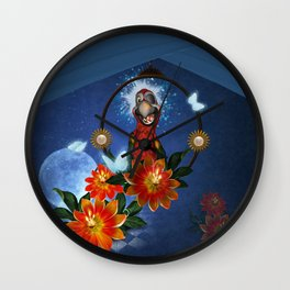 Funny cute parrot with flowers Wall Clock
