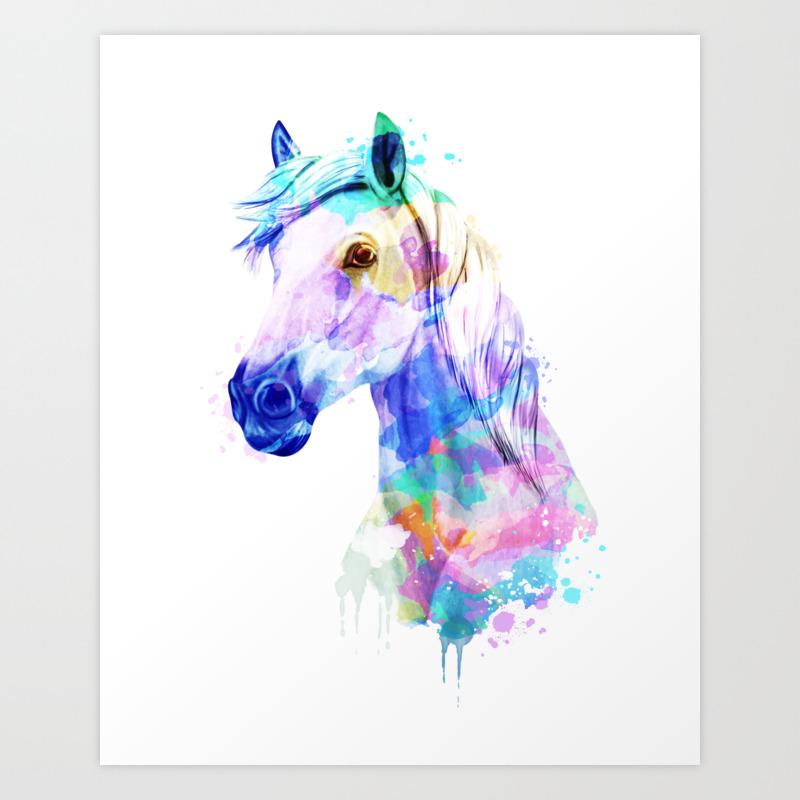 Horse Watercolor Horse Print Watercolor Print Watercolor Animal Horse Painting Horse Gift Print Art Print By Romandigitalart Society6