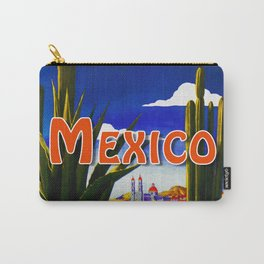 Vintage Mexico Village Travel Carry-All Pouch