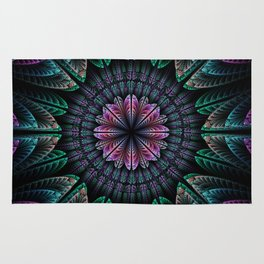 Magical dream flower, fractal abstract Rug