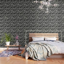 Black and White Science Pattern Wallpaper