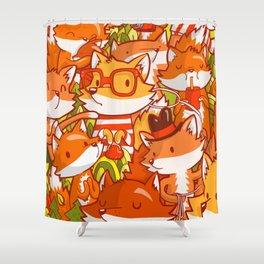 The Fox Family Shower Curtain