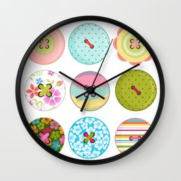 Seing Buttons Wall Clock