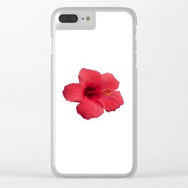 Stunning Red Hibiscus Flower Clear iPhone Case