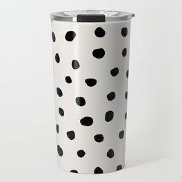 Modern Polka Dots Black on Light Gray Travel Mug