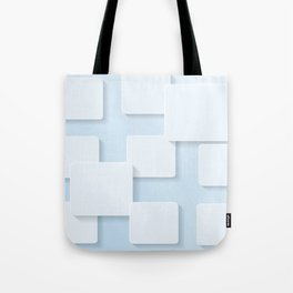 WHITE SQUARES ON A LIGHT BLUE BACKGROUND Abstract Art Tote Bag